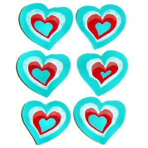 Love Hearts Erasers Novelty Rubbers - Set of 6